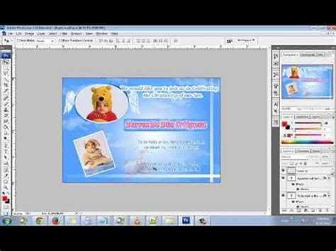 how to make a card in photoshop how to make an baptism christening invitation card