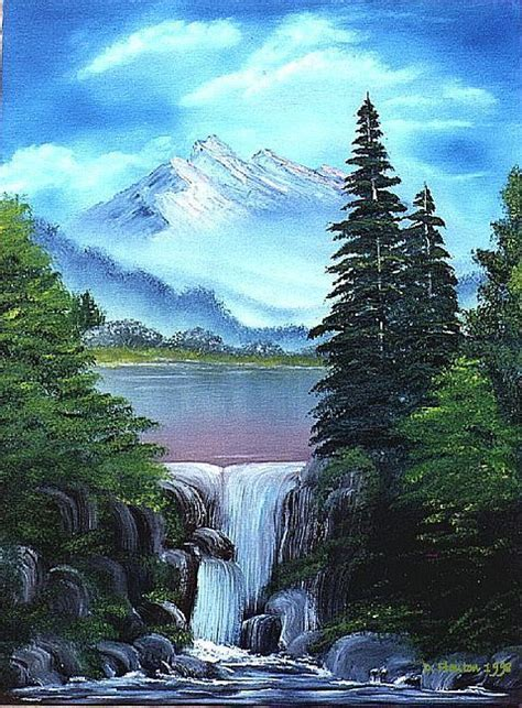 bob ross painting in acrylics waterfall paintings search waterfall paintings