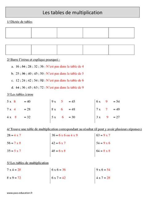 tables de multiplication cm1 r 233 visions 224 imprimer pass education