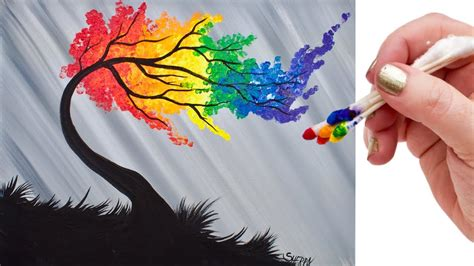 rainbow tree rainbow willow tree q tip acrylic painting for beginners