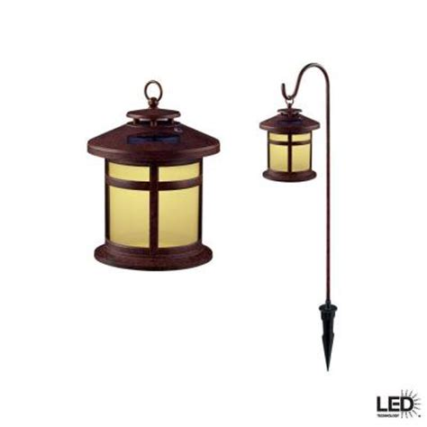 solar outdoor lights home depot hton bay reviere rustic bronze outdoor solar led light
