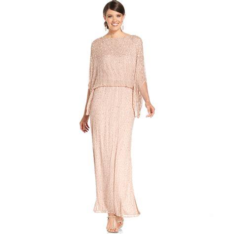 patra beaded dress patra kimono sleeve beaded blouson gown in pink lyst