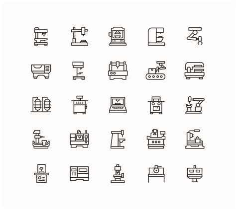 cnc machine vector icons