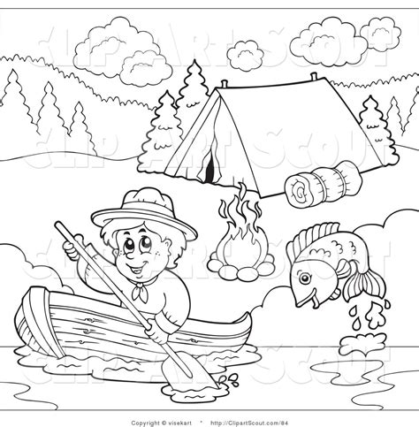 clipart of an outlined scout boy boating past a campground