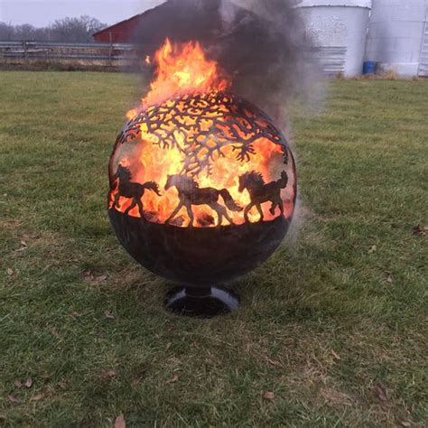 pit globe pit sphere globe with horses by tomsfirepits on etsy