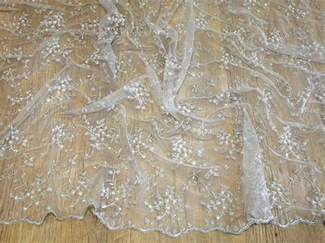 beaded lace fabric delicate beaded scalloped edge couture bridal lace fabric