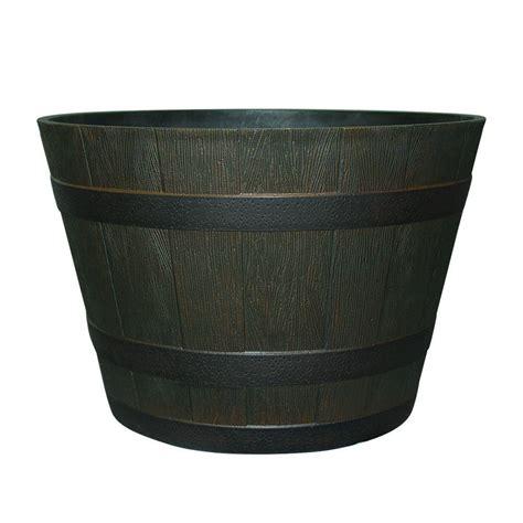 wine barrel planters home depot wood barrels pots planters the home depot