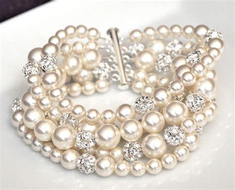 bracelets for jewelry pearl cuff bracelet chunky wedding bracelet by