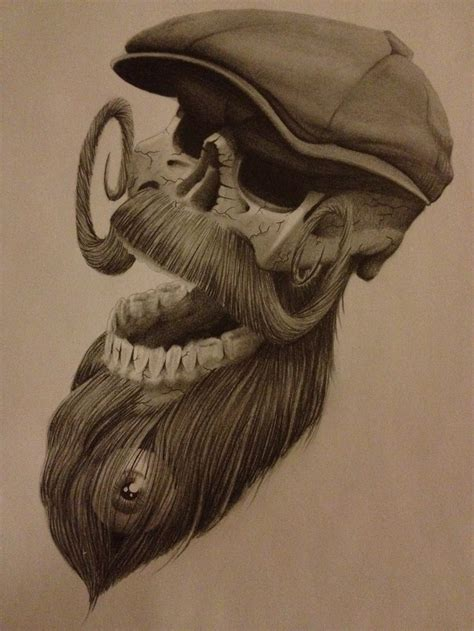 cool bearded skull with a flat cap tattoos pinterest