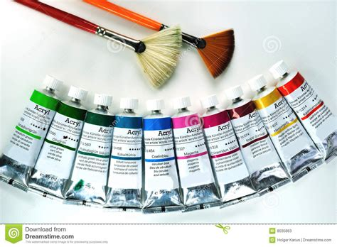 acrylic painting equipment acrylic painting tools stock image image of technique