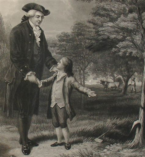 portrait george washington and the cherry tree i can not tell a lie antique print
