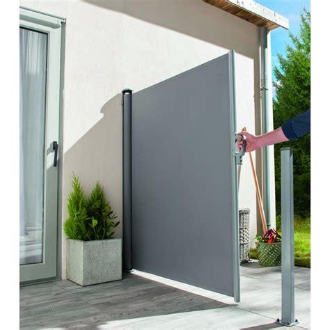 rideau de terrasse extensible gris fonce 1 60x3m ideal garden chez mr bricolage