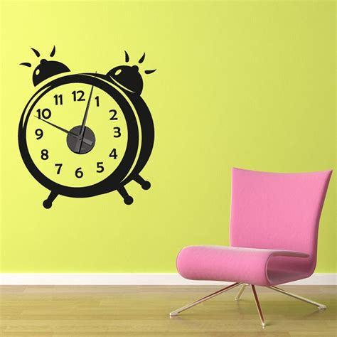 sticker wall clock working alarm clock wall sticker wall chimp uk