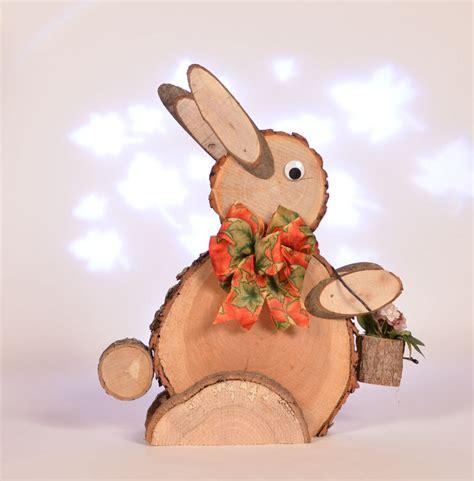 rabbit woodworking rustic log slice rabbit log easter bunny wooden rabbit