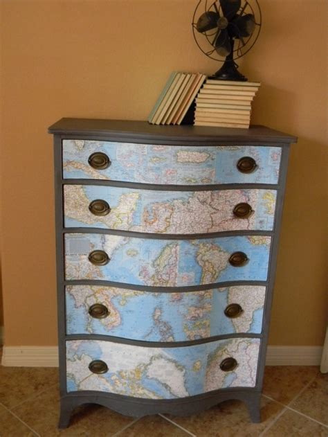 decoupage maps on furniture decoupage maps salvage repurpose