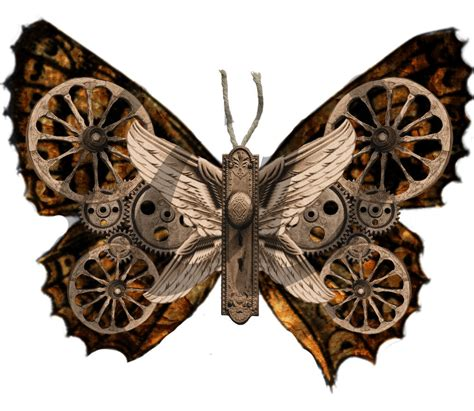 steampunk butterflies 6 png images instant digital download