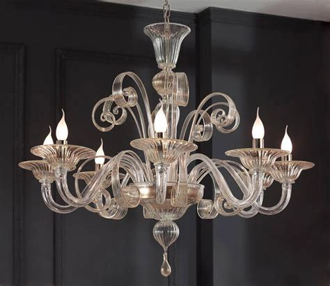 glass chandelier modern clear glass modern murano chandelier s1199l8 murano imports