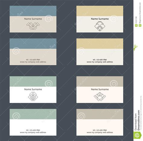 card layouts set of business card layout linear geometric logo and