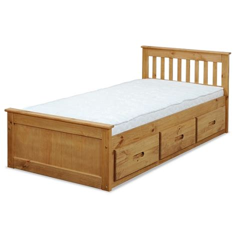 pine bed with drawers mission storage single bed in waxed pine with 3 drawers