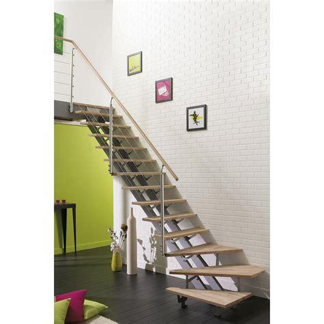 escalier quart tournant escatwin structure aluminium marche bois leroy merlin
