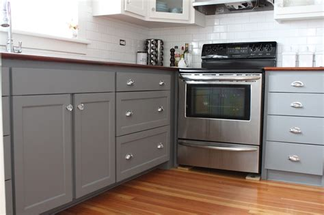 grey painted kitchen cabinets modern two tone cabinets reveal