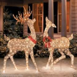 lighted reindeer decorations set of 2 outdoor reindeer deer yard