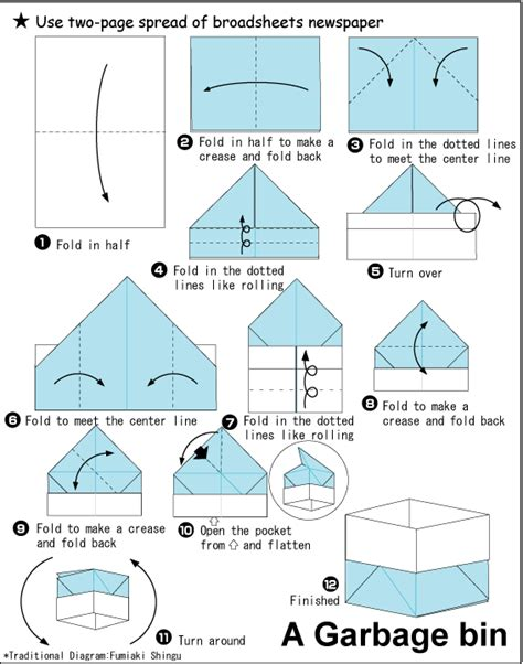 how to make origami containers garbagebin 1