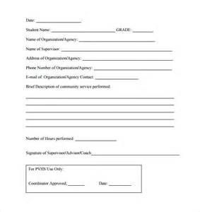 sample service hour form 13 download free documents in
