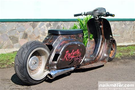 Modifikasi Vespa Matic by Vesrod Rodjalie Modifikasi Vespa Rat Rod Ekstrem Dari