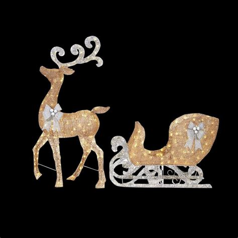 lighted reindeer decorations home accents 65 in led lighted gold reindeer and