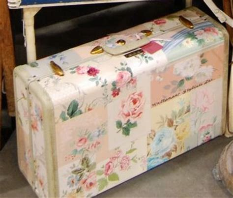 how to decoupage a suitcase just look at that sweet collage on an valise