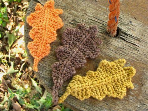knitted leaves autumn oak leaf knitting pattern suburbia