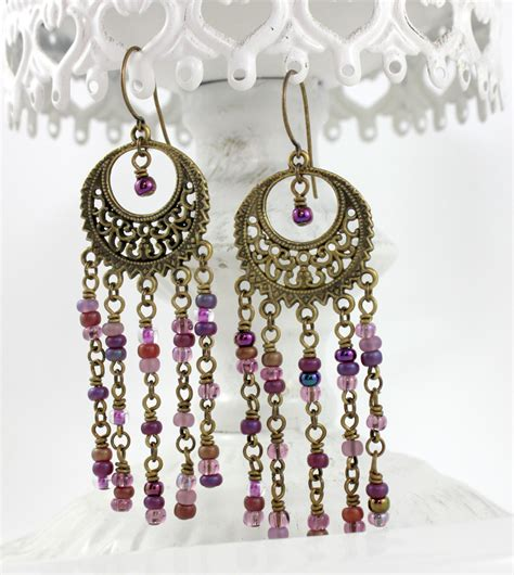 chandelier earrings etsy beaded boho chandelier earrings purple by downtownglam on