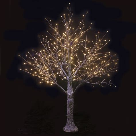 brown decorated tree 150cm snow decorated brown twig tree warm white led lights
