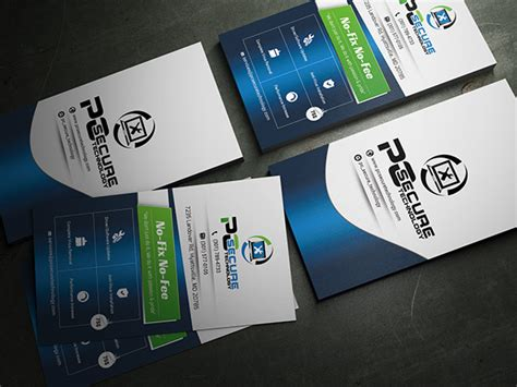 cards on computer business card for pc secure technology comapny on behance
