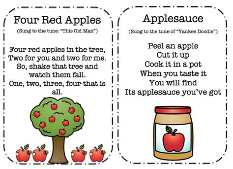 tree poems preschool apple songs poems and finger play cards preschool