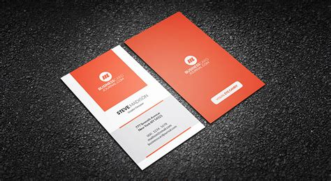 business card free free vertical orange zest business card template