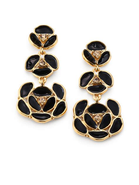 gold black earrings kate spade enamel pansy drop earrings in metallic lyst