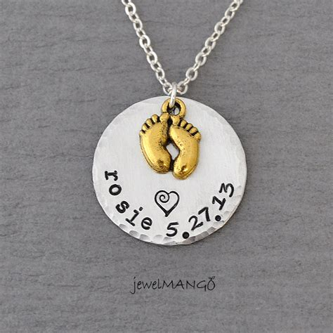 baby necklace keepsake baby name birth necklace sted baby