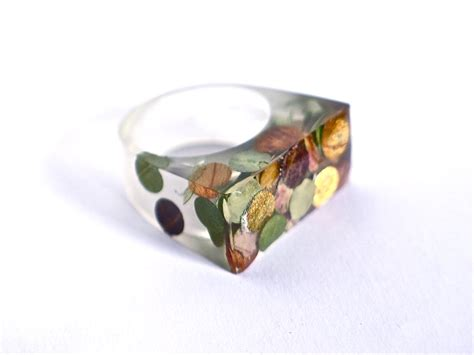 where to buy resin for jewelry resin ring resin jewelry vegetal confetti autumn leaves