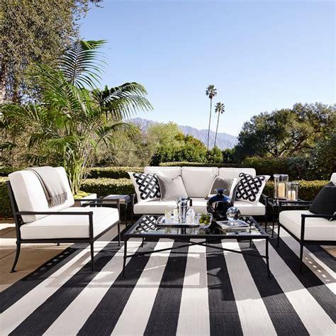 black and white striped outdoor rug patio stripe indoor outdoor rug black williams sonoma