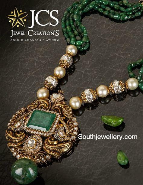 emerald mala emeralds mala with peacock pendant jewellery designs