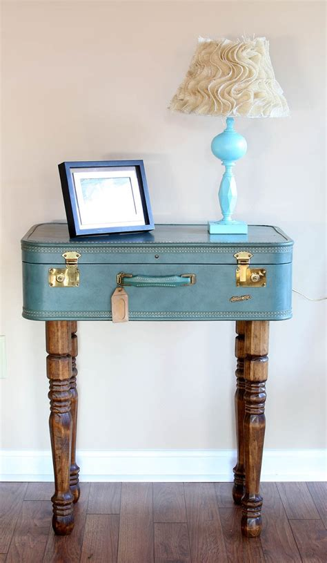 vintage look suitcase nightstand table painted with blue