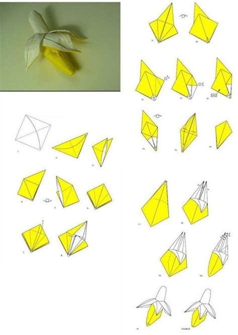 steps to make paper crafts how to fold origami paper craft banana step by step diy