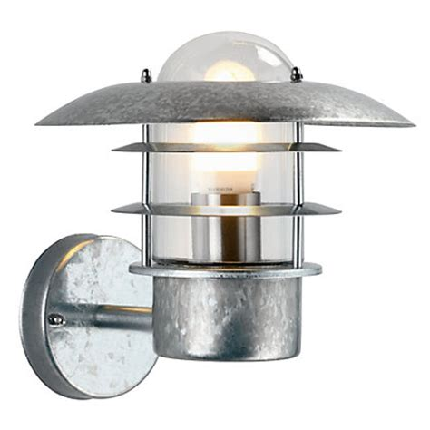 homebase outdoor lighting ufo garden wall light galvanised steel at homebase