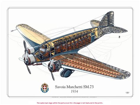 Description Of Artwork by Savoia Marchetti Sm 73 Cutaway By Hubert Cance Artwork No