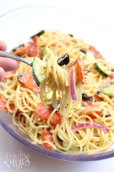 cold pasta dish italian spaghetti pasta salad family fresh meals