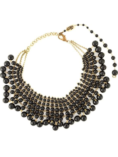 beaded collar necklace rosantica beaded collar necklace in black lyst