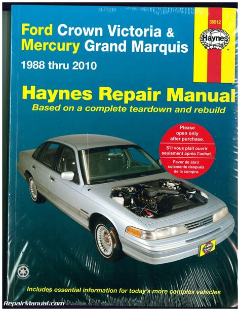 manual repair autos 2008 ford crown victoria navigation system haynes ford crown victoria mercury grand marquis 1988 2010 auto repair manual