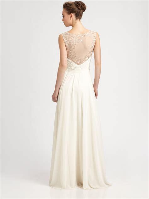 aidan mattox beaded gown aidan mattox beaded back gown in white ivory lyst